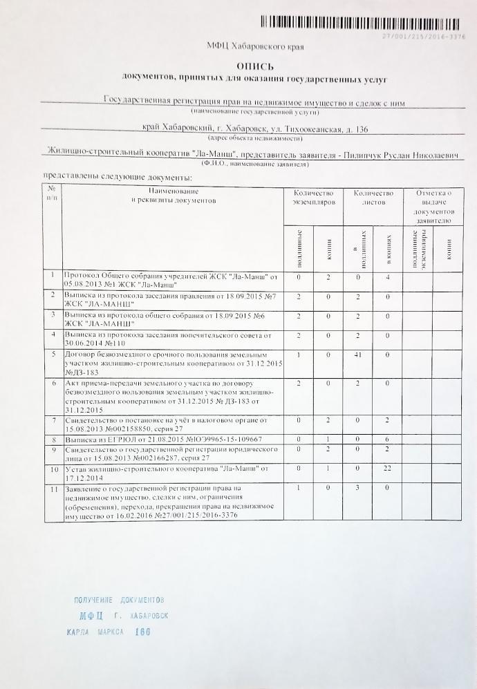 Опись документов к заявлению о регистрации прав